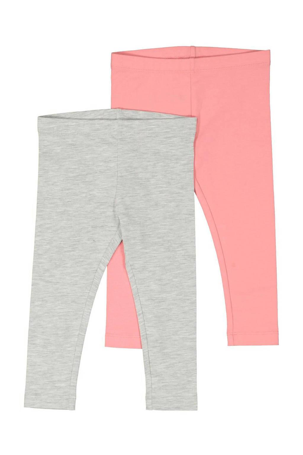 HEMA legging grijs/lichtroze - set van 2, Grijs/lichtroze