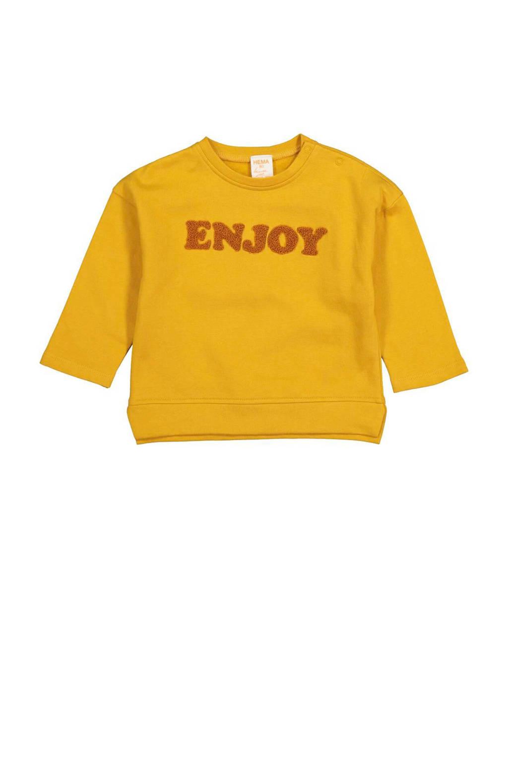 HEMA sweater met tekst geel, Geel