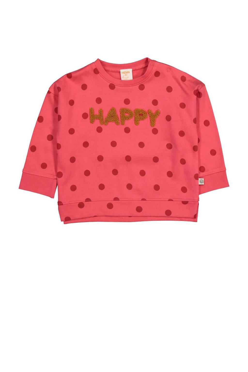 HEMA sweater met stippen en tekst roze, Roze