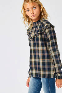 America Today Junior top met ruitdessin donkerblauw/lichtgeel Bowdy, Donkerblauw/lichtgeel