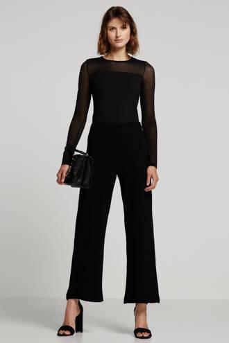 high waist loose fit broek zwart