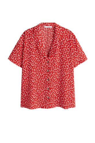 gebloemde blouse rood/wit