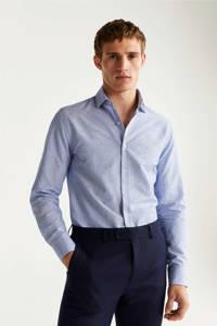 Mango Man gestreept slim fit overhemd met stippen blauw, Blauw