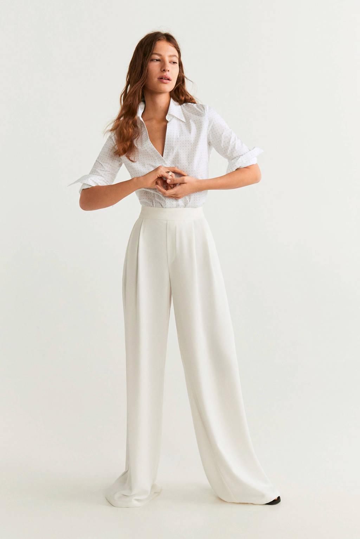 Mango blouse met stippen wit, Wit