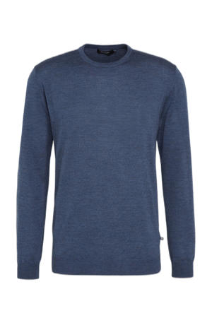 gemêleerde wollen trui blauw