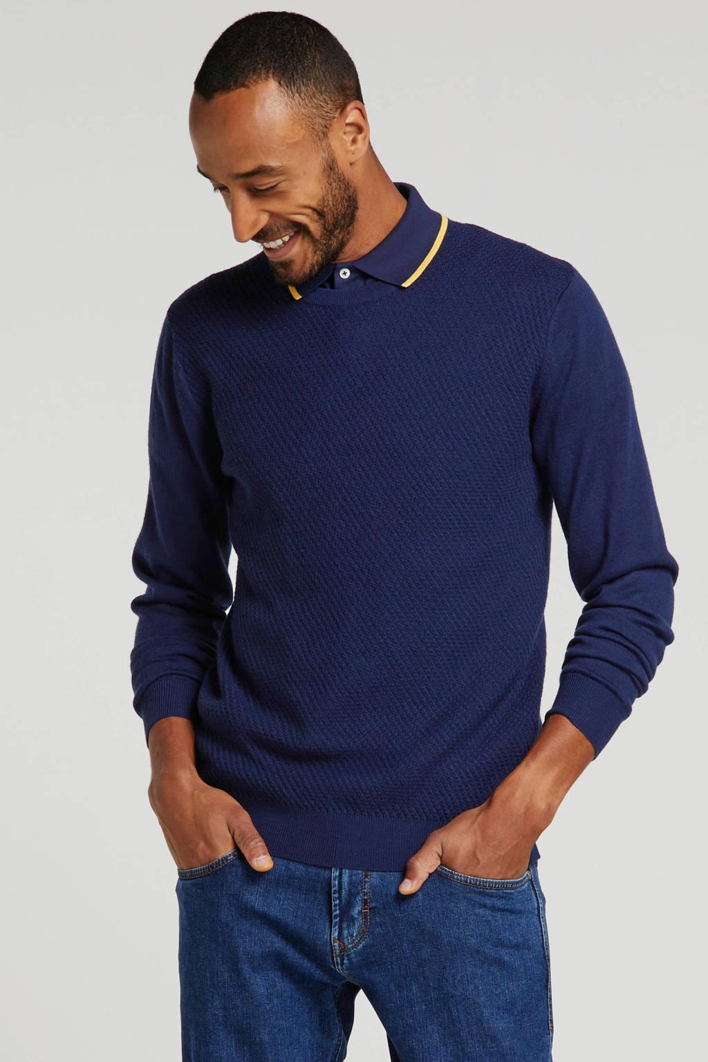 Matinique trui met wol donkerblauw, Donkerblauw