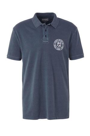 regular fit polo met logo en borduursels donkerblauw