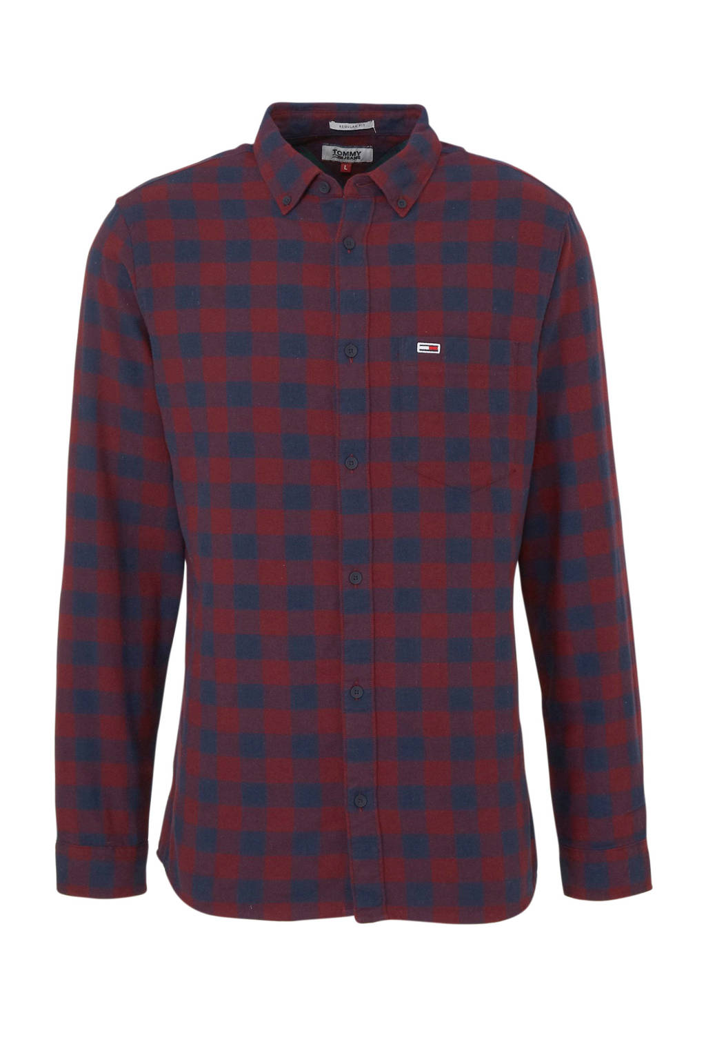 Tommy Jeans geruit regular fit overhemd rood/donkerblauw, Rood/donkerblauw