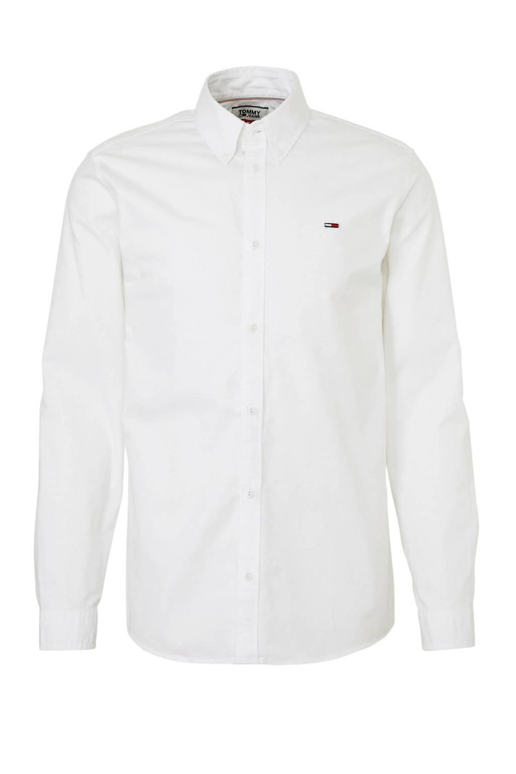 Tommy Jeans regular fit overhemd met logo wit, Wit