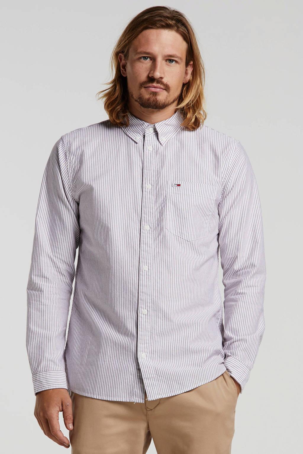 Tommy Jeans gestreept regular fit overhemd van biologisch katoen wit/oudroze, Wit/oudroze