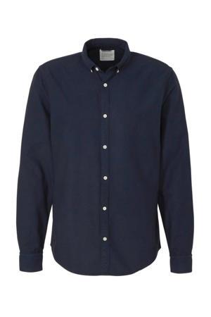slim fit overhemd van biologisch katoen donkerblauw