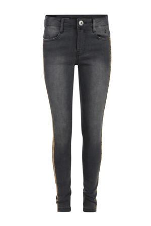 skinny jeans Claire met zijstreep grijs