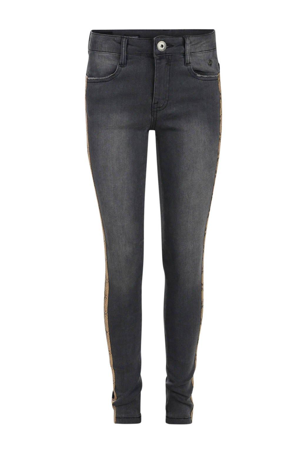 Jill skinny jeans Claire met zijstreep grijs, Grijs