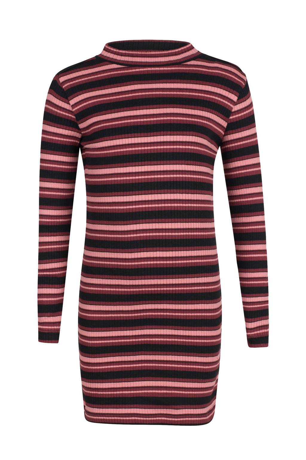 Jill gestreepte jersey jurk Bridget donkerrood/roze, Donkerrood/roze