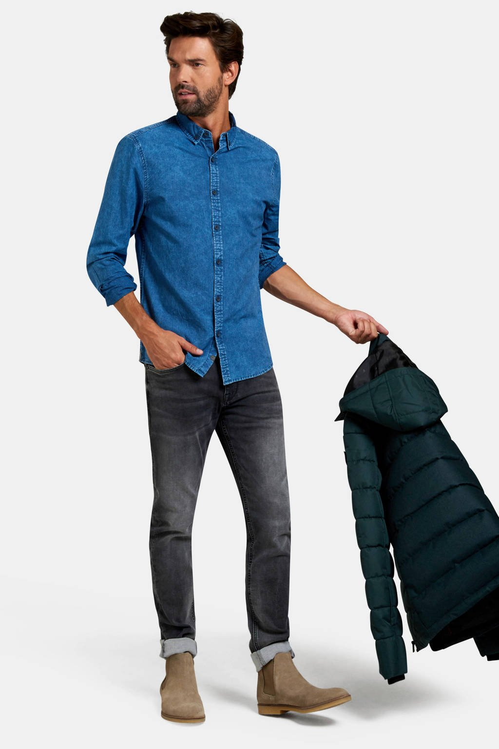 Refill slim fit denim overhemd dark denim, Dark denim