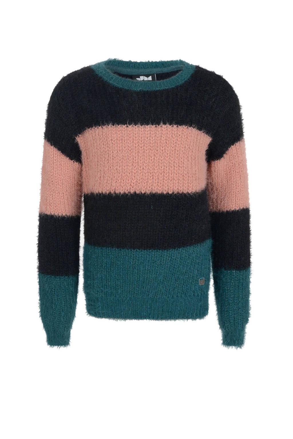Jill gestreepte trui Bun lichtroze/petrol/zwart, Lichtroze/petrol/zwart