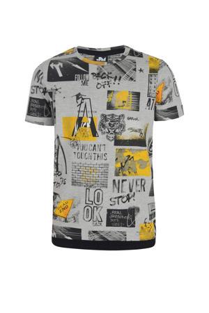 T-shirt Pharell met all over print grijs melange