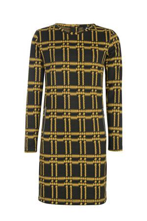jersey jurk met all over print geel/zwart