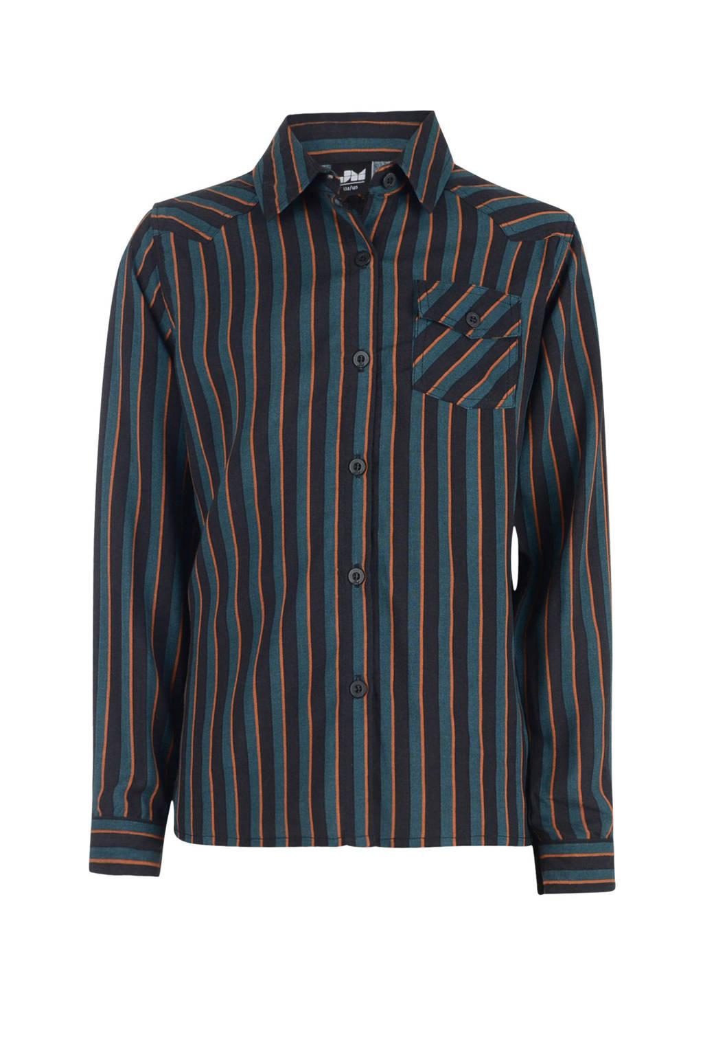 Jill gestreepte blouse Miona donkerblauw/roestbruin/zwart, Donkerblauw/roestbruin/zwart