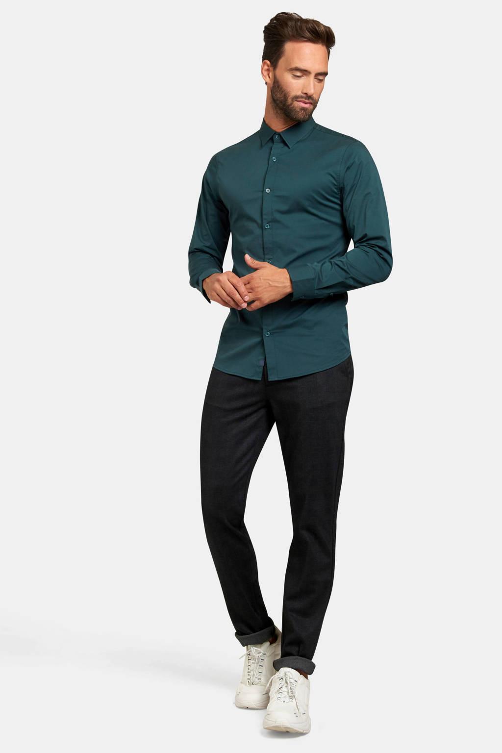 Refill slim fit overhemd darkgreen, DARKGREEN