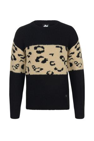 trui Boho met panterprint zwart/beige