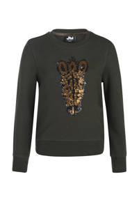 Jill sweater Leyla met printopdruk en pailletten donkergroen, Donkergroen