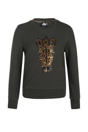 sweater Leyla met printopdruk en pailletten donkergroen