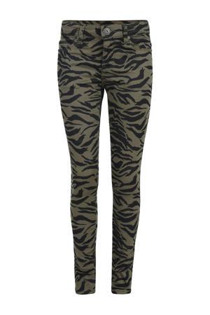 broek Lenny met zebraprint olijfgroen/zwart