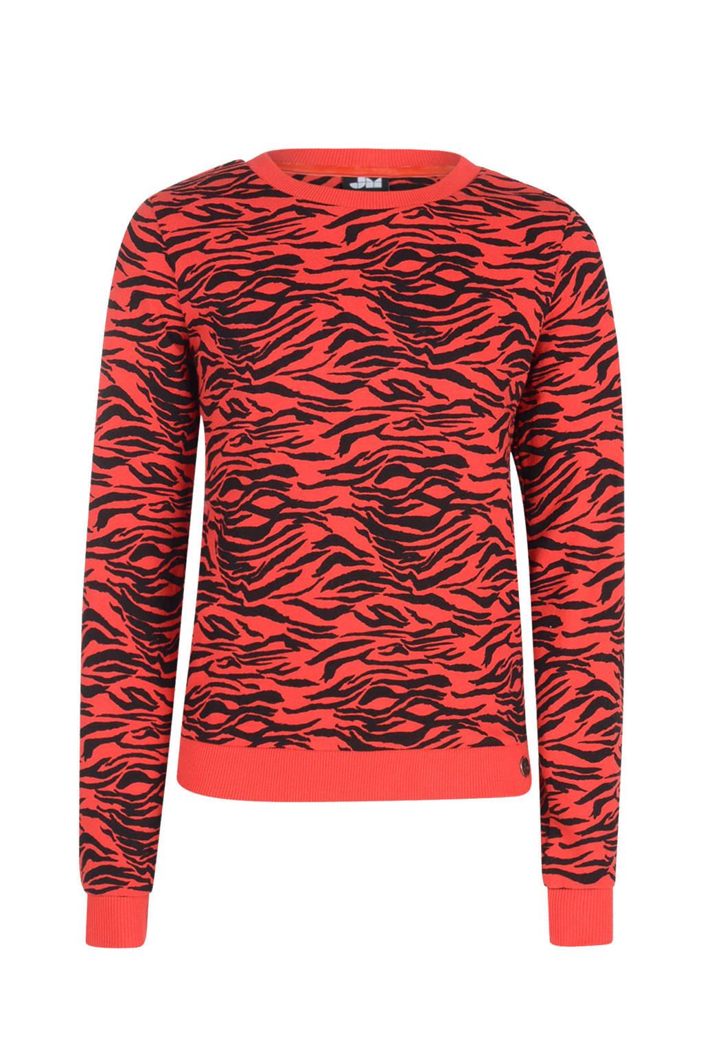 Jill sweater Loa met zebraprint rood, Rood