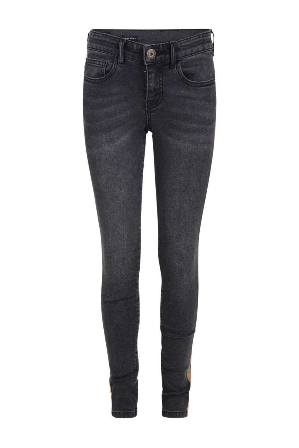 Jill skinny jeans Celine met zijstreep zwart/goud, Zwart/goud