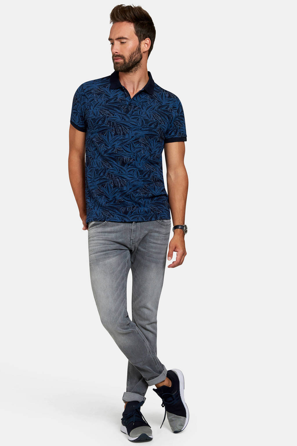 Refill regular fit polo met all over print donkerblauw, Donkerblauw/zwart