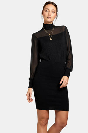 semi-transparante jurk met glitters zwart