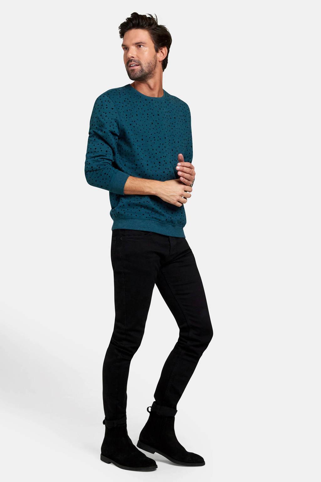Refill sweater met stippen donkerblauw, Donkerblauw