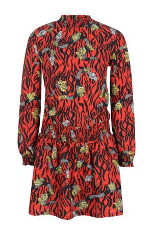 jurk Lenox met all over print rood/zwart