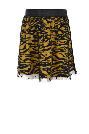 mesh rok Louise met zebraprint geel/zwart