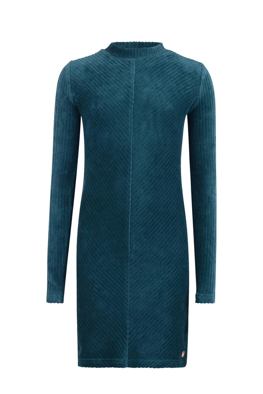 Jill gestreepte fluwelen jersey jurk Mara blauw, Blauw