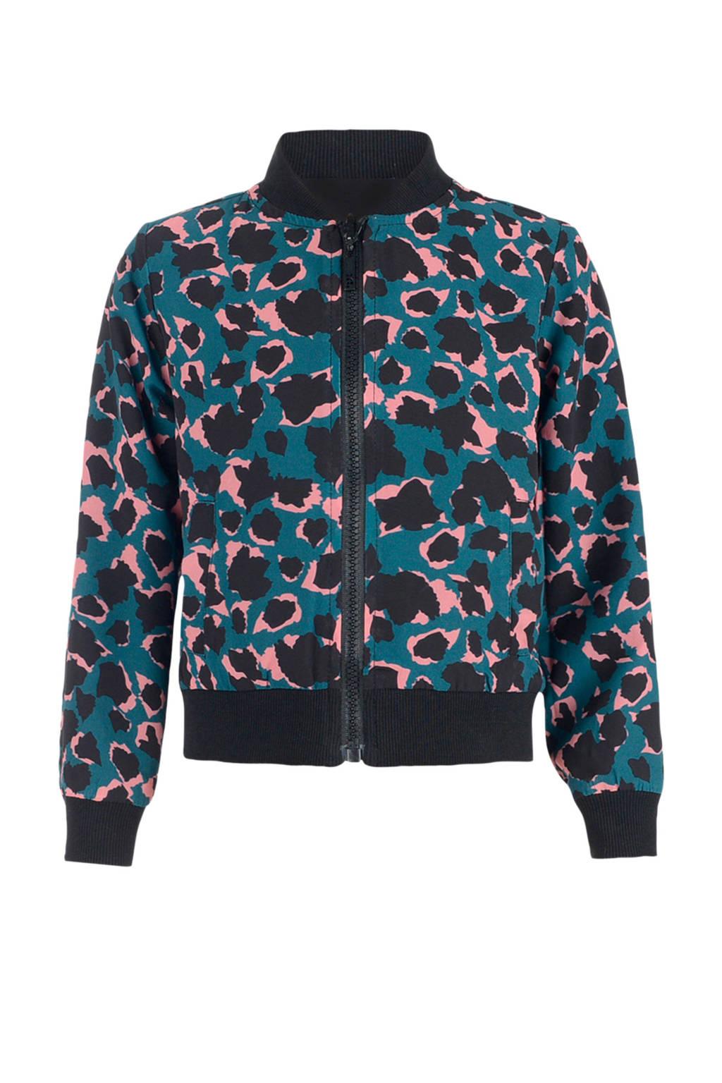 Jill vest Melia met panterprint donkerblauw/roze/zwart