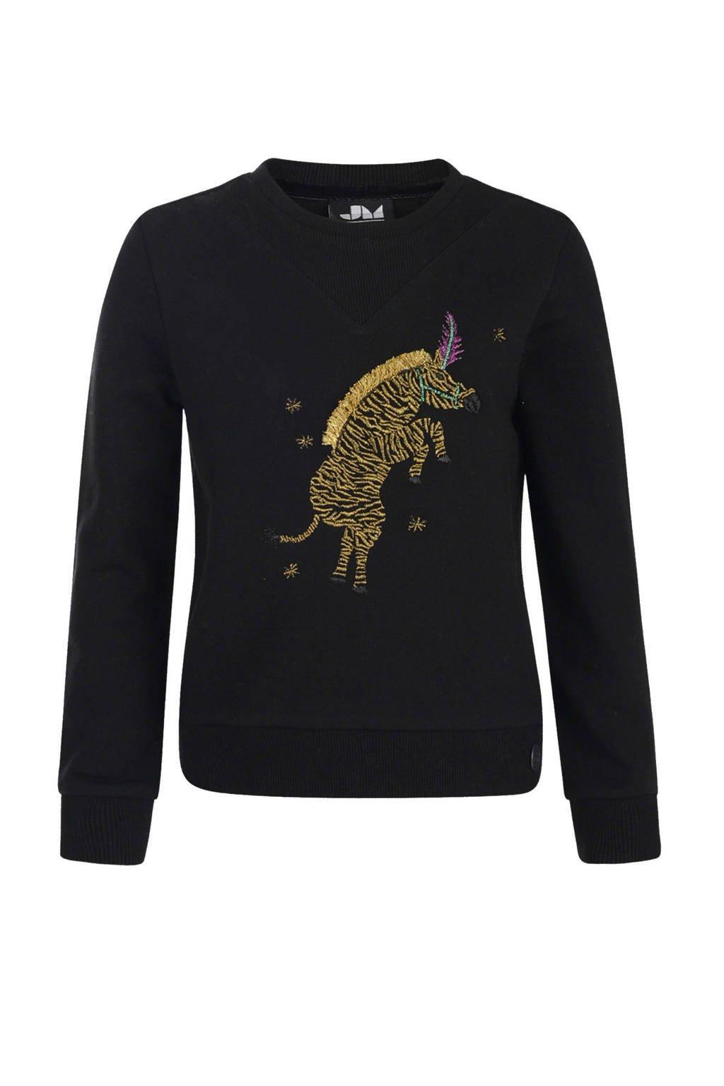Jill sweater Luni met dierenprint en franjes zwart, Zwart