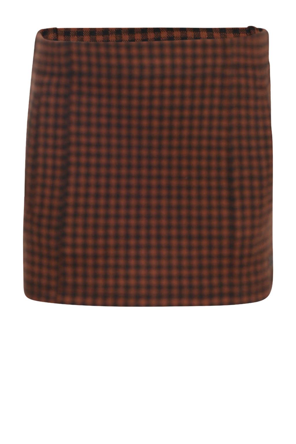Jill geruite rok Mandy met contrastbies bruin/zwart, Bruin/zwart
