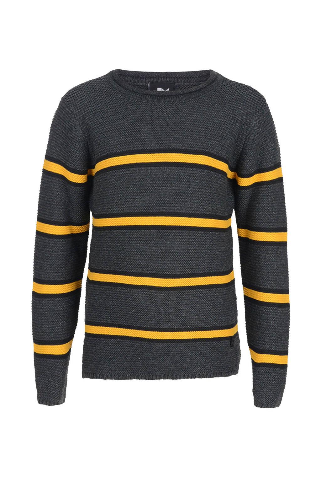 Mitch gestreepte trui grijs/geel, Grijs/geel