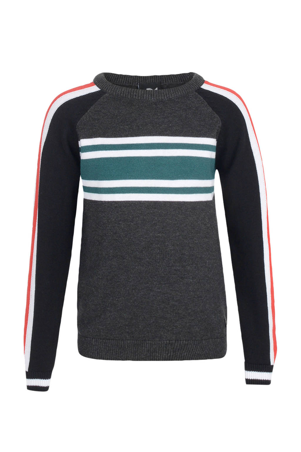 Mitch gestreepte trui Bosk met contrastbies grijs melange/wit/blauw/rood, Grijs melange/wit/blauw/rood