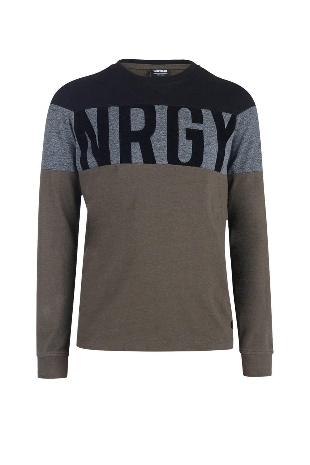 Mitch longsleeve met tekst zwart/grijs/bruin, Zwart/grijs/bruin