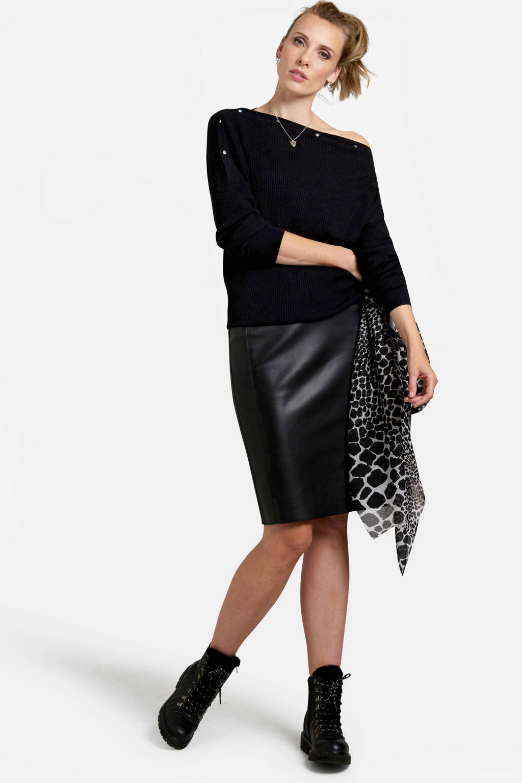 Eksept by Shoeby ribgebreide trui met studs zwart, Zwart