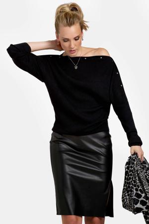 ribgebreide trui met studs zwart