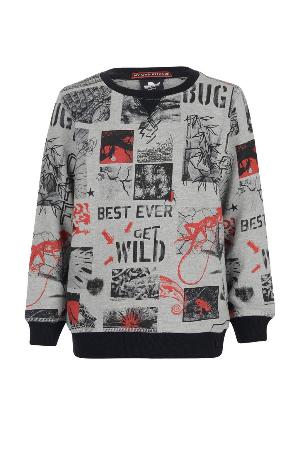 Mitch sweater Phyllon met all over print grijs, Grijs