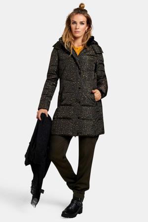 gewatteerde winterjas zwart multi