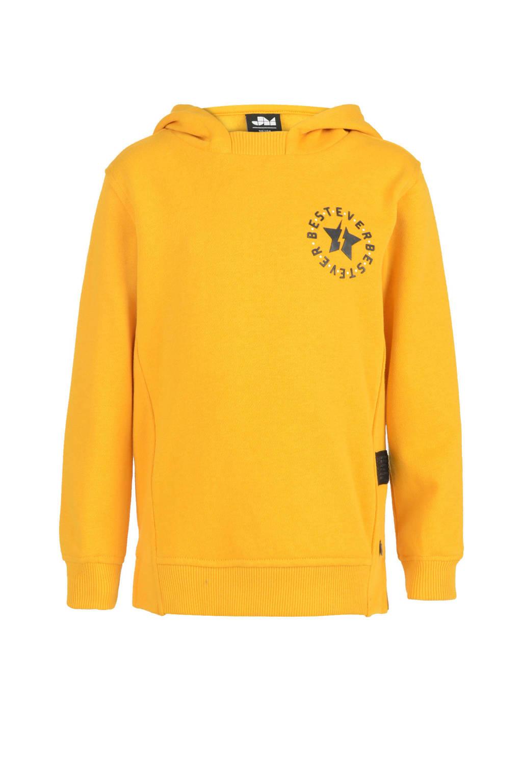 Mitch hoodie met printopdruk geel, Geel