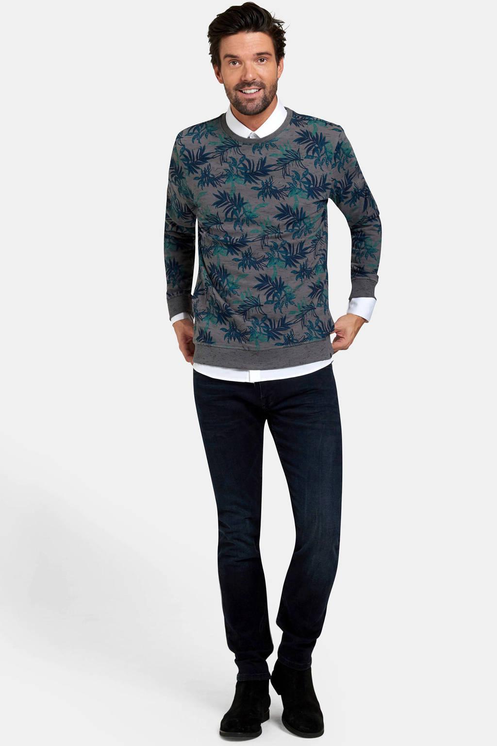 Refill sweater met all over print grijsblauw/blauw, Grijsblauw/blauw
