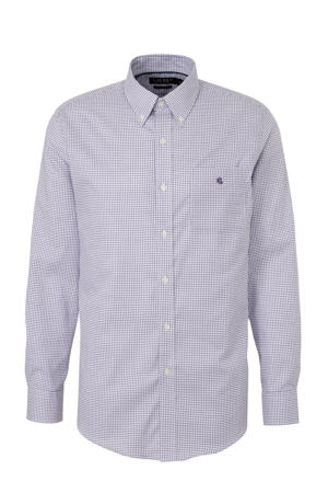 geruit regular fit overhemd paars/wit