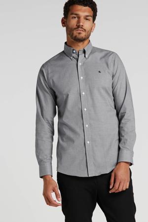 slim fit overhemd met pied-de-poule zwart/wit